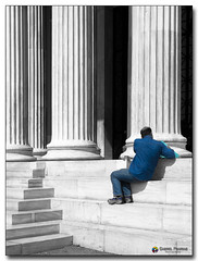 20080319_1304 (gabrielpsarras) Tags: bw man monument stairs blackwhite downtown steps athens greece historical column marble selectivecolor zappeion  zappeio