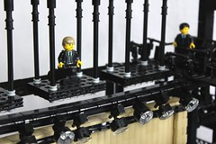 Peril at the Opera (soccersnyderi) Tags: roof tower stone architecture design pagoda model opera lego stage curtain nation n ethan spotlight mission framework rogue oriental catwalk hunt impossible moc