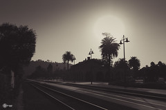 Summer Haze (BackEastPhoto) Tags: california railroad sunset silhouette santabarbara haze sunsetlight railroadtracks latesummer primelens canonef28mmf28isusm