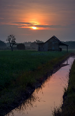 Sunrise (bdrc) Tags: wood house reflection sunrise river landscape golden town scenery minolta zoom sony hour tele 75300mm f4556 a6000 asdgraphy