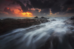 Last Breath [explored] (by nelzajamal) Tags: ocean sea cloud sunrise wave malaysia terengganu dungun singhray leefilter tanjungjara visitterengganu nelzajamal