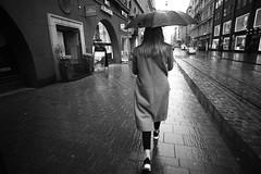 Umbrella series (HKI DRFTR) Tags: blackandwhite girl monochrome rain composition contrast umbrella finland spring helsinki shadows perspective streetphotography decisivemoment greenfilter colorblind urbanlife walkingby uwa rainyweather midtones
