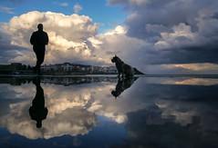 The Paty collecction: Paty y el corredor (josmanuelvaquera) Tags: mar agua paty nubes cielos brilliant mascotas reflejos