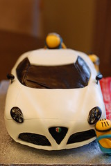 Alfa Romeo 4c sportscar with Minions Birthday cake (CharmChang) Tags: birthday car cake alfaromeo fondant minions