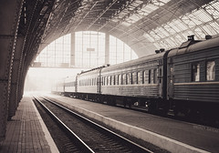 Lviv railway station (Andrey Baydak) Tags: railroad sepia train hall rivets perspective platform eisenbahn railway bahnhof lviv railwaystation galicia artnouveau rails 2470  lemberg  riveted