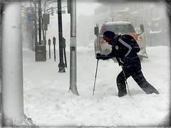 city slalom (JasonLee) Tags: winter snow cold jerseycity snowstorm blizzard snowplow slalom urbanscenes crosscountryskiing parkingmeters inclementweather urbanfragments resourcefulness urbansnow slalomcourse snowcrossing urbanskiing blizzardof2016 urbanslalom