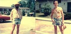 Metamorphosis, summer 1975, New Jersey (A CASUAL PHOTGRAPHER) Tags: men hippies portraits beards tiedye analogphotography hitchhikers tanktops diptychs cutoffs strawhats clothingdress kodak126film pointshootphotography johnlbeck kodakinstamatic126cameras