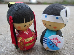 Geisha & Ninja (vickilw) Tags: japanese doll pairs week29 7daysofshooting focusfriday