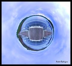 Amieira I - Minion [Planet] (Feiersinger) Tags: sky panorama lake portugal canon river lago do purple little dam pano projection barragem planet wee 8mm alentejo mundo 360x180 aldeia planeta alqueva 360 stereographic minion portel samyang amieira 700d