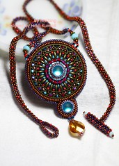 Embellish Filigree (BeeJang - Piratchada) Tags: blue red necklace purple crystal handmade embroidery seed jewelry copper bead swarovski amethyst miyuki beading beaded beadwork filigree beadweaving