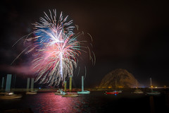 Happy New Year Morro Bay (howardignatius) Tags: california ca longexposure water festival boats harbor fireworks morrobay morrorock