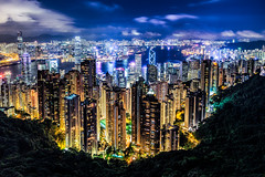 View from the Peak (One_Penny) Tags: china city travel sky urban architecture modern night clouds skyscraper photography hongkong lights town cityscape harbour hill peak bluehour victoriapeak urbanity canon6d