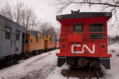 Cabooses and cabooses (DjD-567) Tags: red snow trains nh bm depot northfield tilton cnrail cabooses