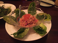 Mission Chinese - Lettuce Cups (beef tartare, miso cured salmon roe, fried onions) (willy cheesesteak) Tags: nyc newyorkcity food ny newyork les chinesefood lowereastside chinese lettucecups missionchinesefood missionchinese missionchinesenewyork missionchineseny