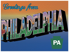 Philadelphia Postcard - 1 (maddieandmarry) Tags: city travel blue wedding orange green art philadelphia set word graphics icons state map postcard text landmarks retro card symbols rsvp