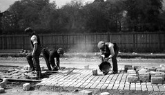 Laying Tramlines (Dundee City Archives) Tags: road old 1920s track workmen photos dundee roadworks granite reserved tramlines repairs laying setts cityengineer craigiedrive olddundeephotos