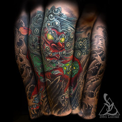Philips-shishi-foo-dog-tribal-dragon-cover-up-from-knee-to-ankle-half-leg-sleeve-by-ben-lucas-at-eye-of-jade-tattoo-in-chico-ca