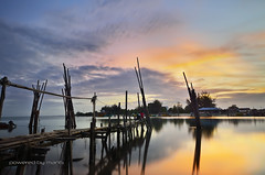 Sunrise Seascape with Fisherman jetty (mangphotography) Tags: ocean morning travel blue sunset red sea summer wallpaper sky panorama cloud sun seascape reflection beach nature water beautiful beauty sunrise vintage river landscape dawn evening boat wooden twilight fishing asia alone ship natural outdoor background traditional scenic peaceful scene panoramic oldschool transportation malaysia boating scape tranquil malay