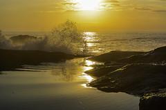 rock & waves in ocres (Luis_Garriga) Tags: brazil brasil mar amanecer aurora barra olas garopaba pedras piedras oceano rompiente