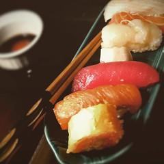 Leftovers, surprisingly as delicious as dinner last night. #sushi #sashimi #fiestaware #chopsticks #japanesefood #Nygoya #westfieldnj (Sivyaleah (Elora)) Tags: fish dinner sushi japanese sticks raw indoor chop fiestaware
