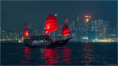 Aqua Luna (Chris Lue Shing) Tags: city red night buildings hongkong lights boat twilight ship harbour kowloon victoriaharbour symphonyoflights aqualuna fujinonxc1650mmf3556ois fujixa1 chrislueshing