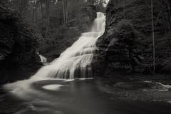 Dark Pool (SunnyDazzled) Tags: longexposure winter bw mist water pool creek landscape flow mono evening waterfall lowlight falls cliffs foam swirl delawarewatergap dingmans
