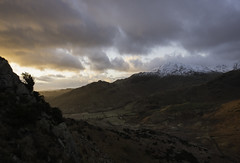 Morning light (Malajusted1) Tags: bridge winter shadow england mountain snow clouds sunrise foot dawn little great pass warmth cumbria fells pikes lakeland fell juniper ambleside thelakes langdale mart birks wrynose skelwith