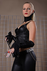 Sandy 21 (The Booted Cat) Tags: woman sexy girl leather model pants crop blonde whip mistress corsage leggins thigt