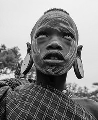 Mursi Girl (Rod Waddington) Tags: africa portrait people blackandwhite monochrome face costume african painted traditional tribal afrika omovalley ethiopia tribe ethnic mago mursi afrique ethiopian omo omoriver