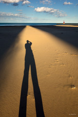 Shadow Stilts (Andy Marfia) Tags: shadow sky selfportrait chicago water birds clouds pier spring sand lakemichigan f8 lakefront hollywoodbeach iso125 1320sec kathyostermanbeach sonyrx100