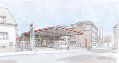 Esso-Tankstelle Effertsufer (Flaf) Tags: colour water station pen ink drawing gas florian esso siegen freie tankstelle flaf afflerbach zeichnerei effertsufer