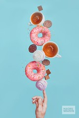 Weekend donuts (Bring life to your space. Decor Products) Tags: blue food coffee relax fun colorful hand tea chocolate vibrant happiness drop sugar health marshmallows donut balance diet splash minimalism conceptual sweetness teaparty productphotography