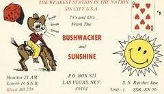 Bushwacker & Sunshine - Las Vegas, Nevada (73sand88s by Cardboard America) Tags: sun dice vintage cowboy nevada qsl cb playingcard cbradio qslcard