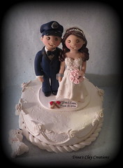 Bride and Groom Cake Topper with Dog Sneaking Cake (Trina's Clay Creations) Tags: wedding dog pet animal anniversary unique police polymerclay gift caketopper handcuffs topper personalized policeman brideandgroom policeofficer handcuffed groomscake clayfigure weddingcaketopper customcaketopper dogeatingcake claycaketopper trinaprenzi trinasclaycreations