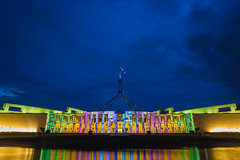 Australian Parliament House During Enlighten 2016 (David Tao Photography) Tags: sky twilight dusk capital australia bluesky canberra bluehour parliamenthouse waterreflection enlighten architecturalprojection