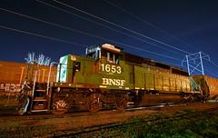 Workhorse of the BN Roster (Jeff Carlson_82) Tags: nightphotography railroad train mac railway bn mo kansascity missouri bluehour kc railfan bnsf burlingtonnorthern emd sd402 1653 burlingtonnorthernsantafe midamericacar
