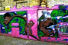 Old and faded (Draopsnai) Tags: pink streetart brick wall graffiti mural nottinghill kensingtonandchelsea