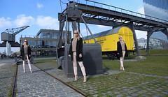 IMG_2869b_stitch (AndyMc87) Tags: frankfurt ezb osthafen fashion stitch rail canon 6d eos 2470 heel sunglass triple train waggon yellow bagger reflection