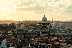 Roma -San Pietro (Luca Schiavello) Tags: city sunset sky italy sun rome colors yellow clouds nikon bew eternal fori d90