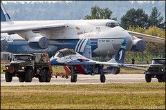 """MiG-29UB """"Channel One"""" (Pavel Vanka) Tags: truck plane airplane fly flying fighter russia moscow jet spot airshow planes spotting mig ruslan channelone ural mikoyan maks lii mig29 antonov an124 fulcrum mikoyangurevich ramenskoe zhukovskiy russianairforce mig29ub"""