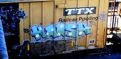 harsh - reskoe (timetomakethepasta) Tags: train graffiti boxcar freight harsh fs tbox ttx whistleblower moniker reskoe