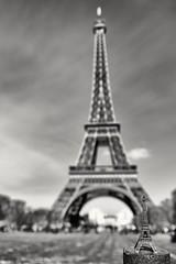 Eiffel Tower with mini one (mtudis) Tags: blackandwhite paris france tower architecture miniature fuji eiffel fujifilm bnw minimodel xt1 xf18135mm
