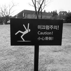 caution! dancing queen! (anokarina) Tags: bw sign warning island blackwhite korea seoul caution jeju teaplantation  jaejudo   osullocteahouse   osullocteamuseum hangyeongmyeon instagram  canonpowershotelph350hs