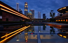 National Gallery 1 (Rebecca Ang (AWAY)) Tags: lighting city light urban reflection water skyline architecture night reflections twilight lowlight singapore cityscape nopeople nationalgallery bluehour thebluehour rebeccaang