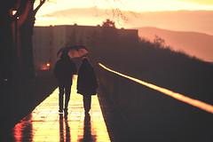 Rainy Walk (Gure Elia) Tags: sunset rain backlight umbrella atardecer lluvia couple dusk walk paseo rainy pamplona taconera warmlight offset warmtones canoneos5dmarkii samyang135f2