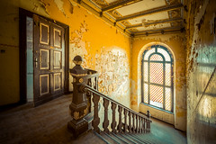 ain't no sunshine when she's gone (MGness / urbexery.com) Tags: windows light urban orange green castle abandoned me broken window stairs lost golden rust ruins peeling place floor explorer steps dream corridor rusty places palace creepy ruine staircase forgotten urbanexploration dreams chateau exploration decayed urbex abandones kastel urbexery