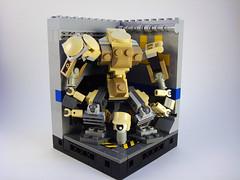 O.G.R.E. Frame - with Pilot in Hangar 4 (Jay Biquadrate) Tags: lego diorama mecha mech moc microscale mfz mf0 mobileframezero