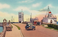 SHIP Mackinaw St Ignace MI 1930s Michigan State Ferry Docks Great Cars and Great Lakes Maritime History and Heritage BEFORE THE MACKINAW BRIDGE BUILT 82 (UpNorth Memories - Donald (Don) Harrison) Tags: travel usa heritage history tourism st vintage antique michigan postcard memories restaurants hotels trailer roadside upnorth steamship cafes excursion attractions motels mackinac cottages cabins campgrounds city bridge island car upnorthmemories rppc wonders big railroad michigan memories mac state parks entertainment natural harrison roadside ferry travel don tourist mackinaw stops upnorth straits ignace