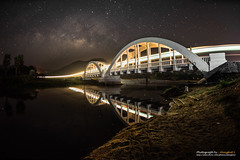 Beautiful white bridge, Train and Milky Way, Lamphun, Thailand (Alongkot.S) Tags: bridge sky cloud lake tree water night river way real star search heaven earth background space satellite science research galaxy photograph nebula planet astronomy universe comet milky cosmic astrology constellation celestial wavelength