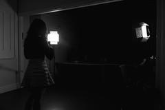 Staring into the abyss (BenChapmanphoto) Tags: light shadow blackandwhite bw film girl monochrome dark movie mono pretty fuji legs fame dramatic spotlight lincolnshire actress attractive mysterious april fujifilm behindthescenes intersting 2016 holbeach x100t fujifilmx100t holbeachfilmcompany plcx100 foreveryourrose